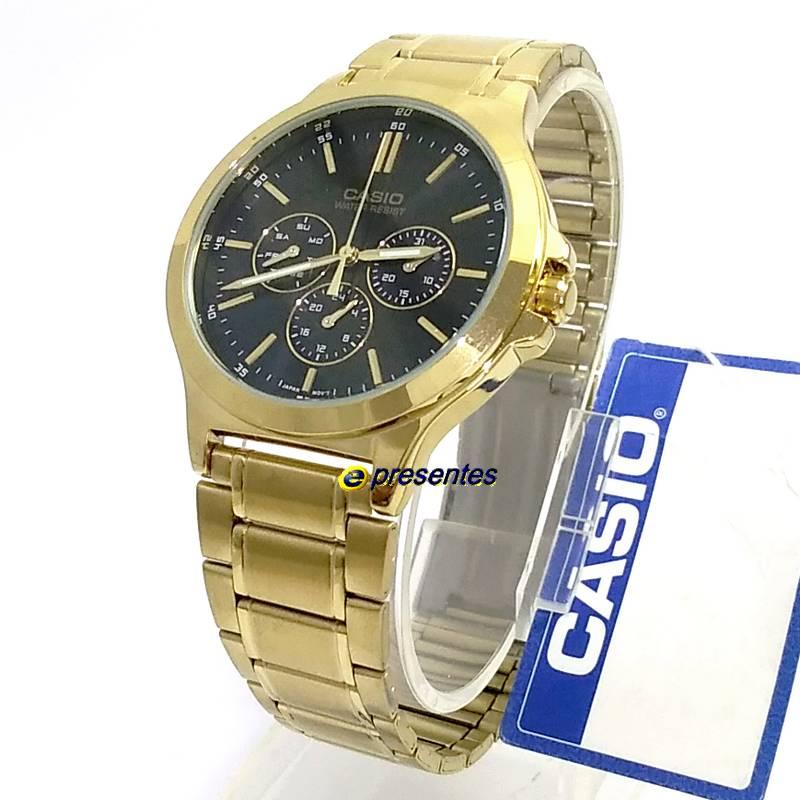 MTP-V300G-1A Relógio Casio Masculino Analógico Aço Dourado   - E-Presentes