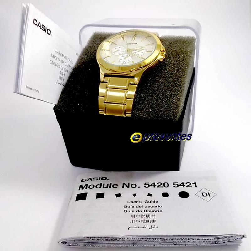 MTP-V300G-7A Relógio Casio Masculino Analógico Aço Dourado   - E-Presentes