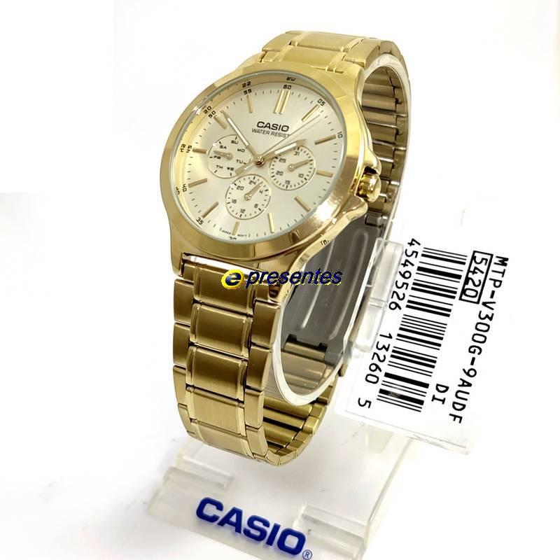 MTP-V300G-9A Relógio Casio Masculino Analógico Aço Dourado   - E-Presentes