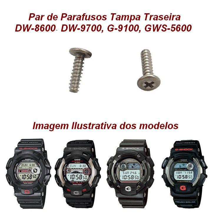 Par Parafusos Tampa traseira Casio G-shock DW-8600, DW-9700, G-9100, GWS-5600  - E-Presentes