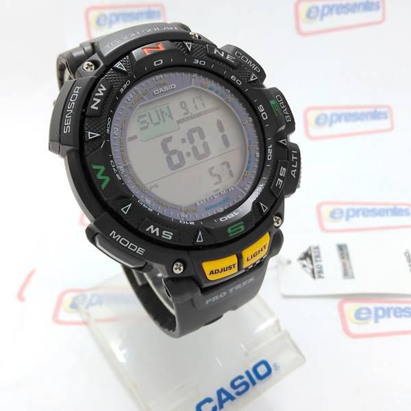 PRG-240-1DR Relógio Casio Protrek Triplo Sensor   - E-Presentes