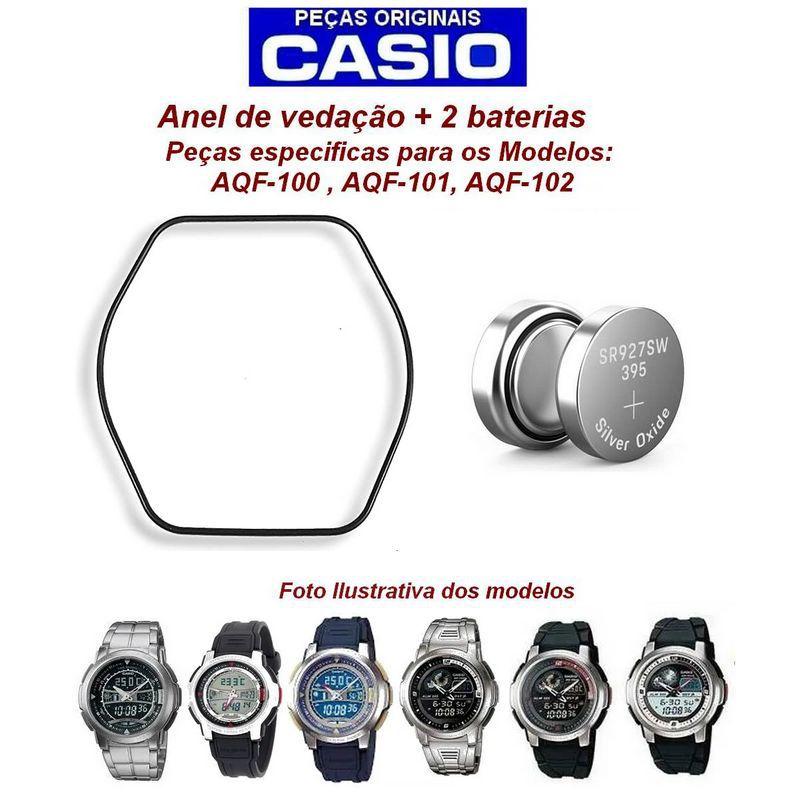 Pulseira + Anel Vedação + Bateria Relogio Casio  AQF-102w  - E-Presentes