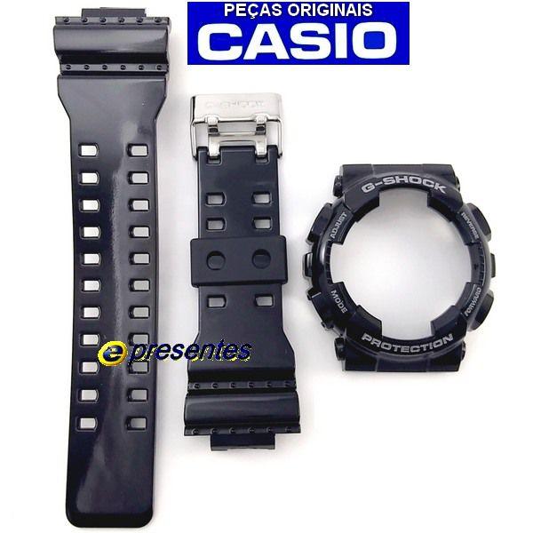 Pulseira + Bezel Capa Casio G-shock Ga-120B 1A Brillhante   - E-Presentes