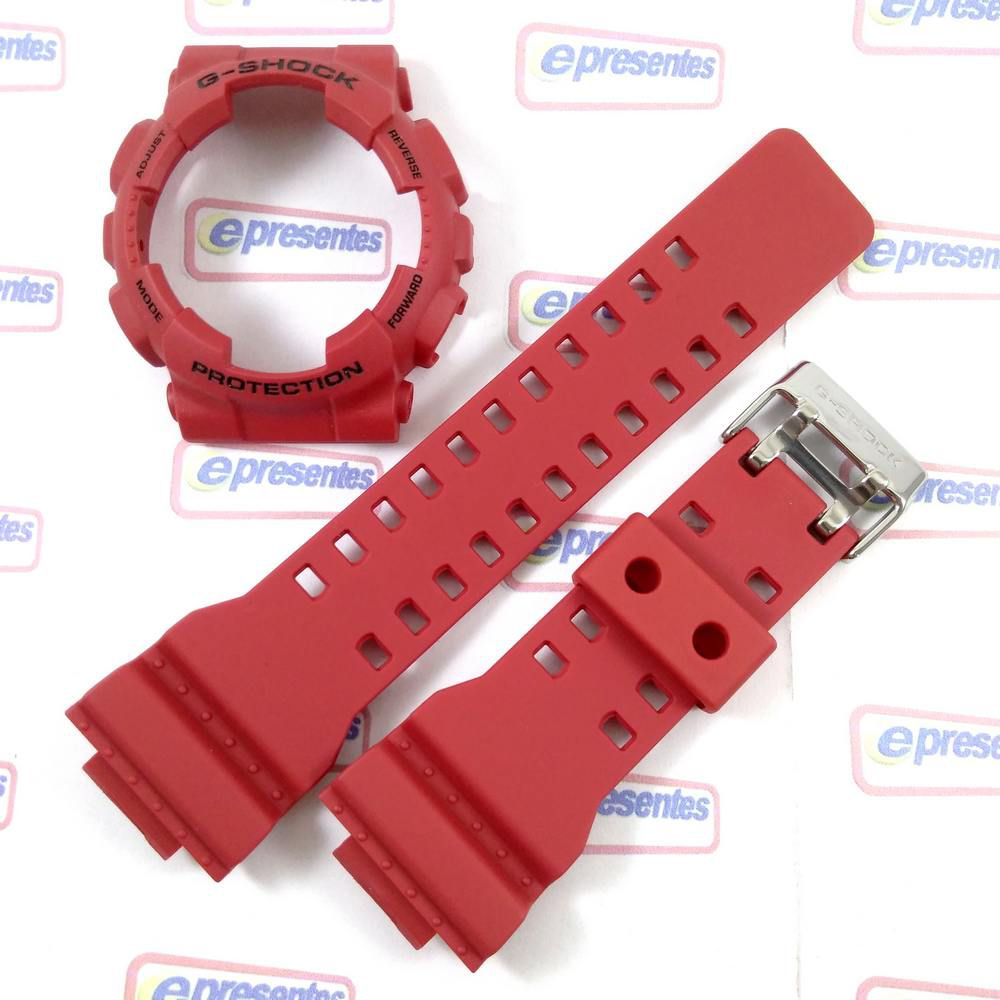 Pulseira + Bezel Capa Casio G-shock vermelho Ga-100b-4 / GA-110FC-4  - E-Presentes