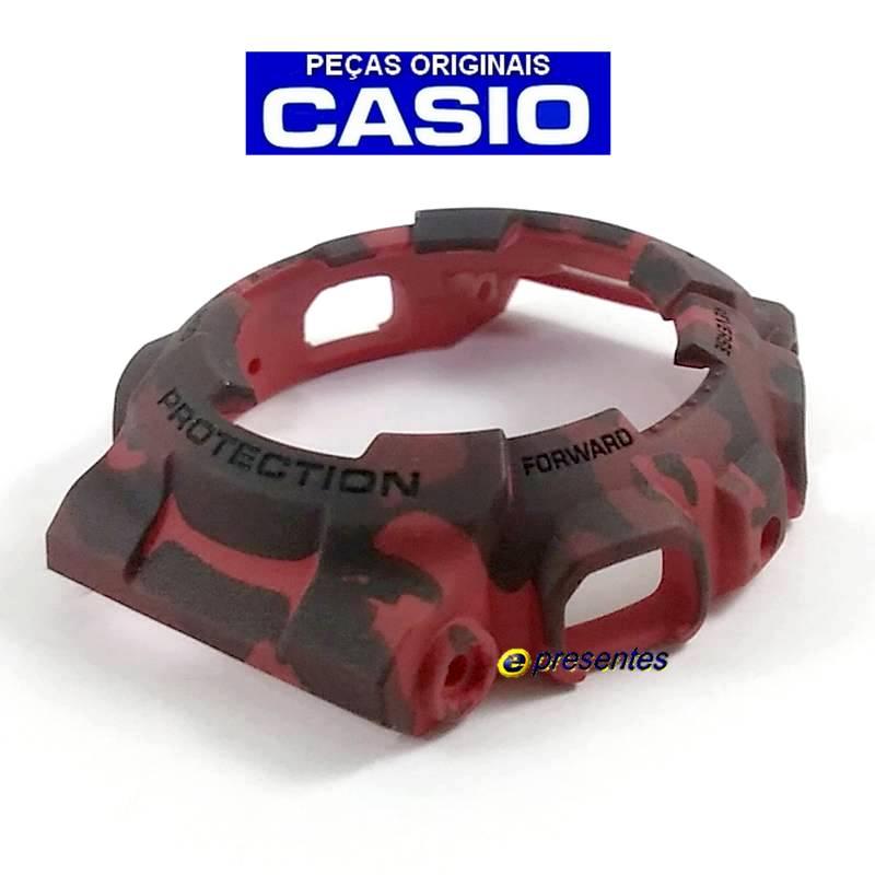 Pulseira + Bezel  (CAPA) GA-100CM-4A GD-120CM-4 Casio Gshock Vermelho Camuflado  - E-Presentes