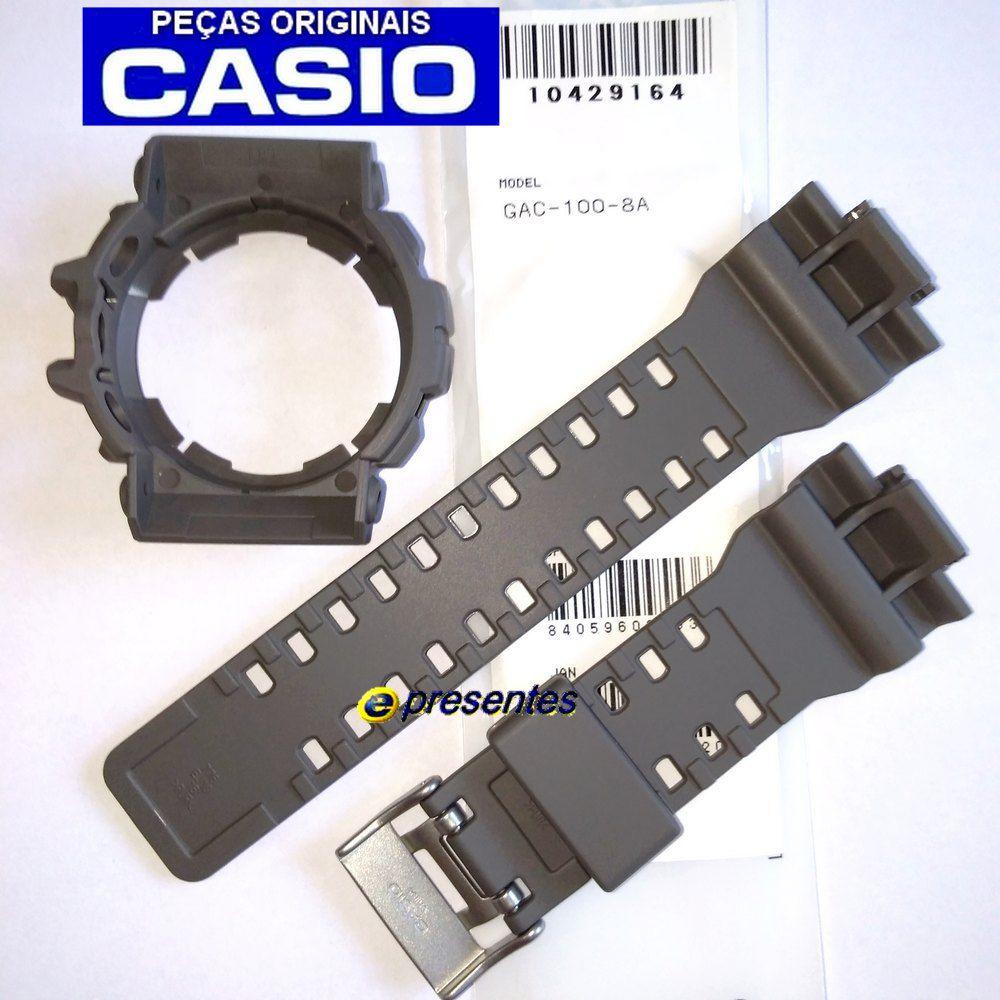 Pulseira + Bezel (Capa) GAC-100-8A Casio G-Shock Cinza / Caqui  - E-Presentes