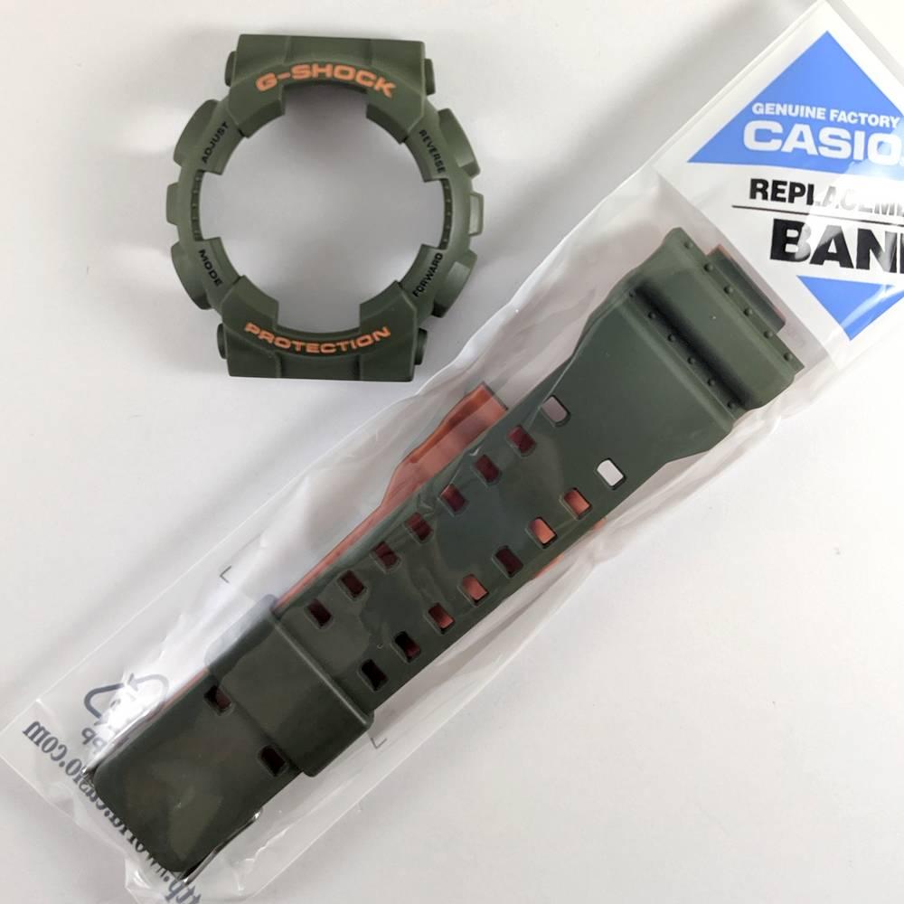 Pulseira + BEzel Casio G-shock GA-110LN-3a Verde e Laranja - Peças Originais  - E-Presentes