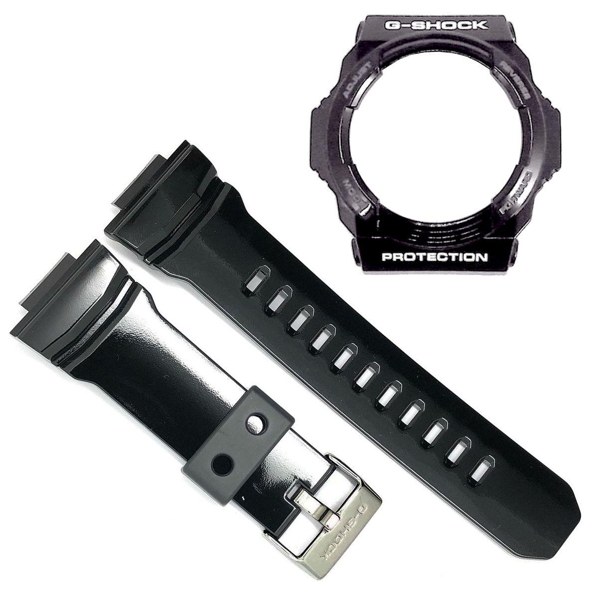 Pulseira + Bezel Casio G-Shock GA-150bw Preto Verniz  - E-Presentes