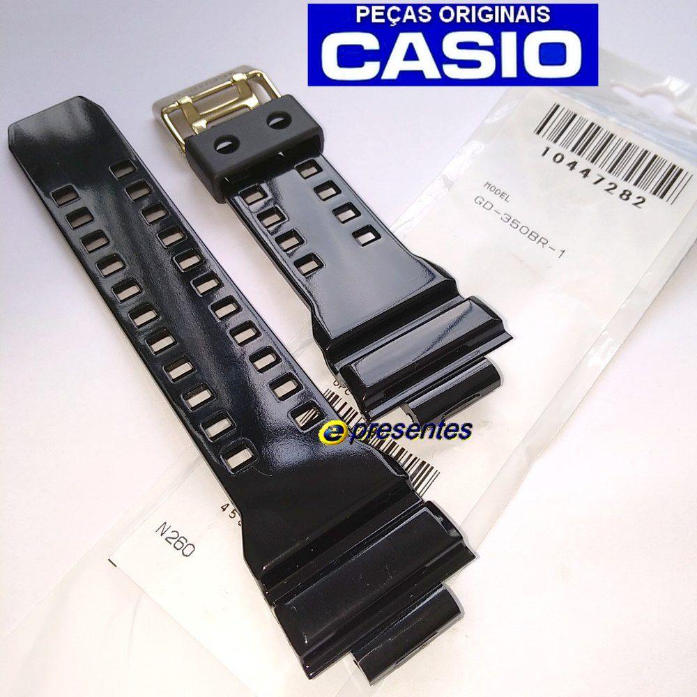 Pulseira + Bezel Casio G-shock GD-350BR-1 Resina Preto Brilhante (Verniz)  - E-Presentes