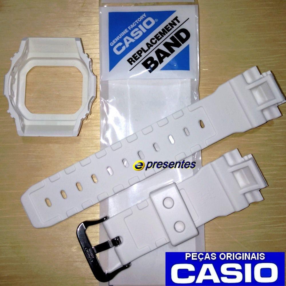 Pulseira + Bezel Casio G-Shock GLX-5600-7 G-lide Branco Brilhante   - E-Presentes