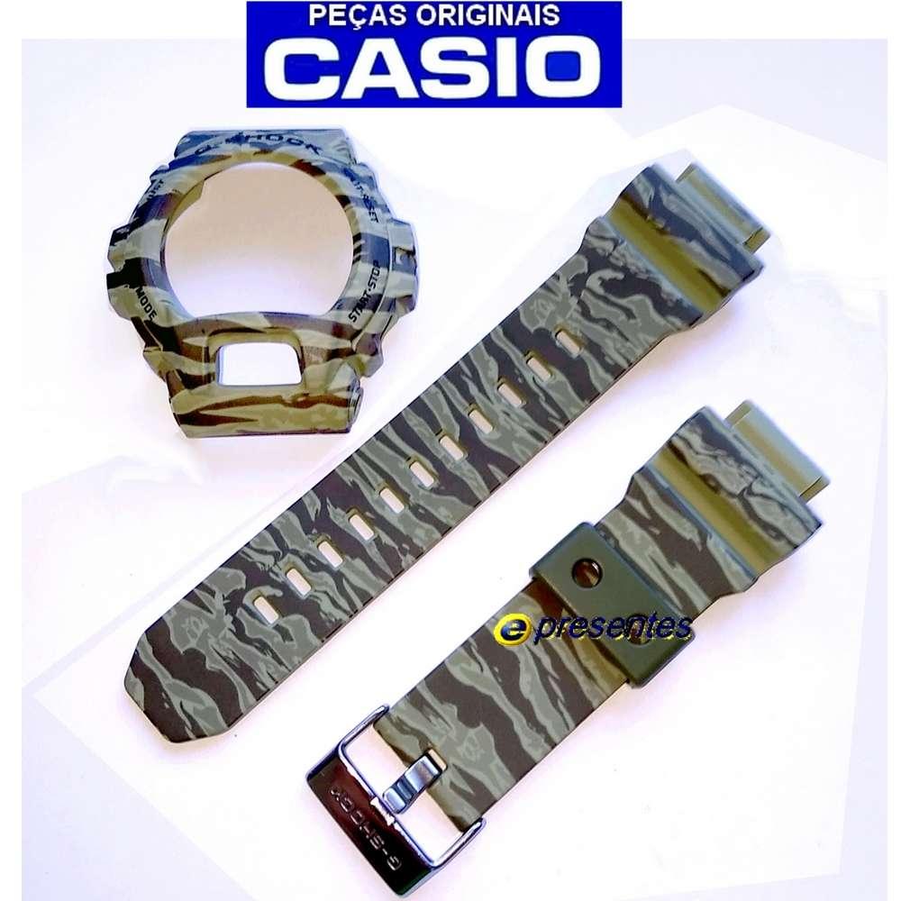 Pulseira + Bezel Casio GD-X6900cm-5 / GD-x6900TC-5v G-shock Camuflado Verde  - E-Presentes