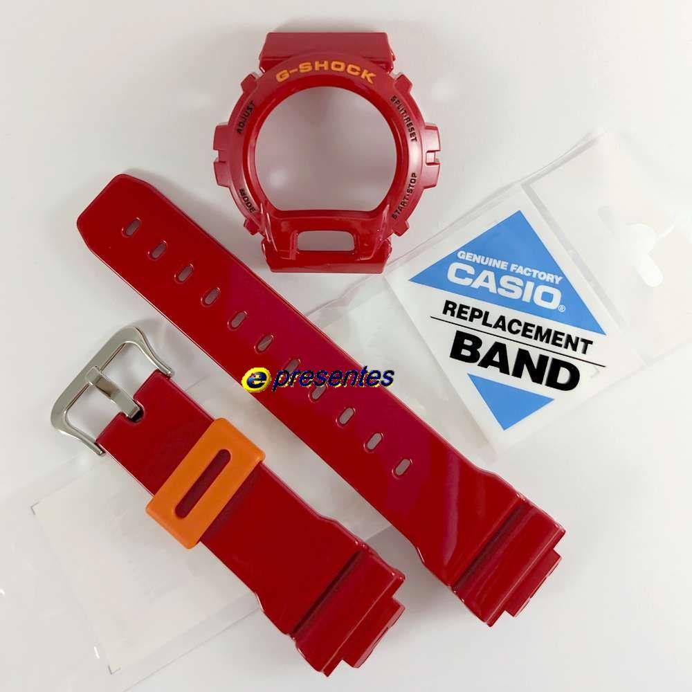 Pulseira + Bezel DW-6900cb-4 Vermelho Casio G-Shock  - E-Presentes