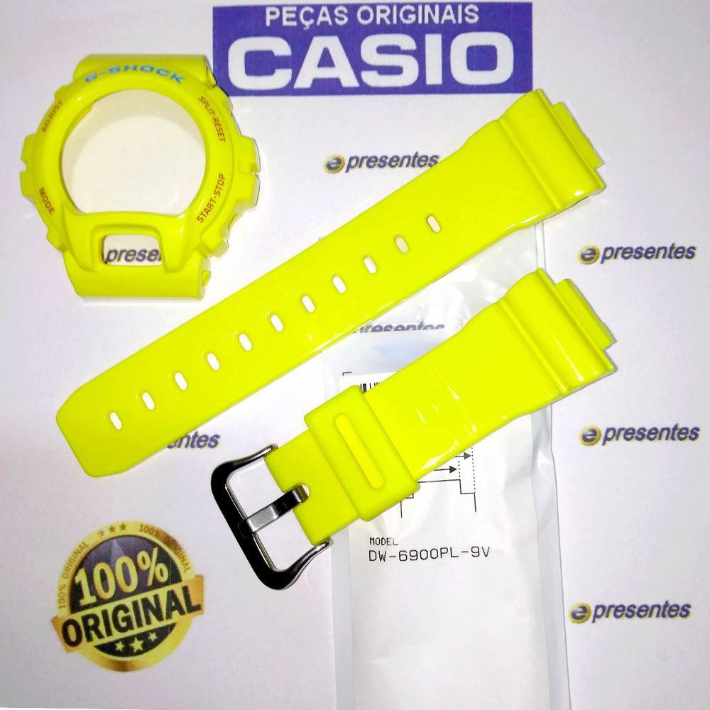 Pulseira + Bezel DW-6900PL-9 Amarelo Brilhante 100% Original Casio G-Shock  - E-Presentes
