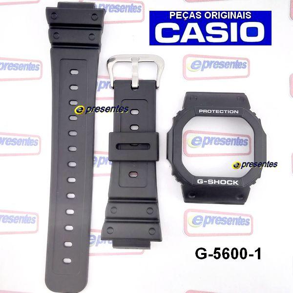 Pulseira + Bezel G-5600e Gw-m5600 GW-M5610 Casio G-Shock Resina preta  - E-Presentes