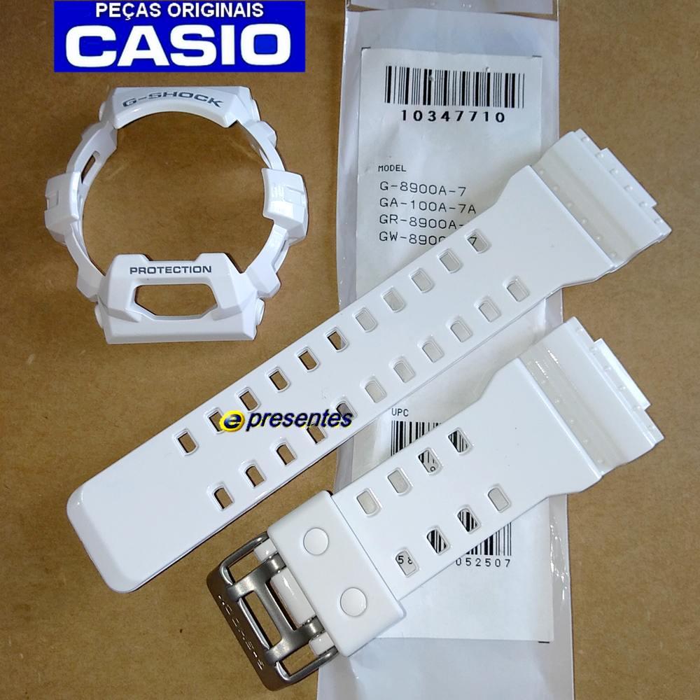 Pulseira + Bezel G-8900a-7 Branco Brilhante Verniz  - E-Presentes