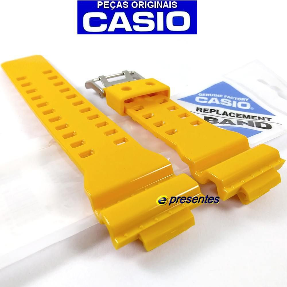 Pulseira + Bezel  GA-100A-9A Casio G-shock Amarelo Brilhante  - E-Presentes