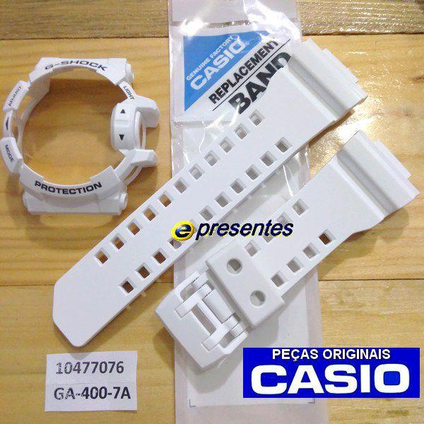 Pulseira + BEZEL GA-400-7A Branco Brilhante Casio G-shock   - E-Presentes