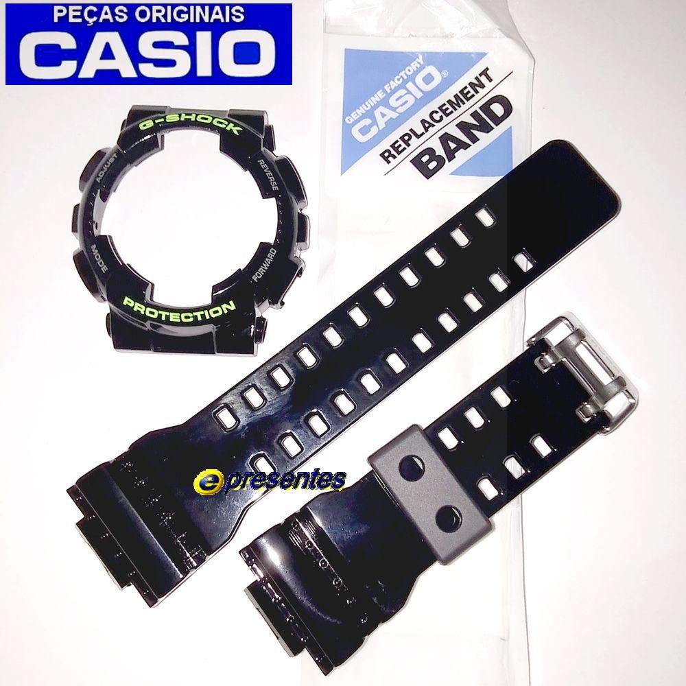 Pulseira + Bezel GD-100SC-1 Casio G-shock Preto Brilhante   - E-Presentes