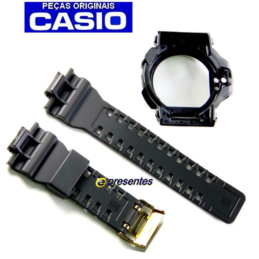 Pulseira + Bezel GDF-100GB-1 Preto Brilhante - 100% Original Casio G-shock  - E-Presentes