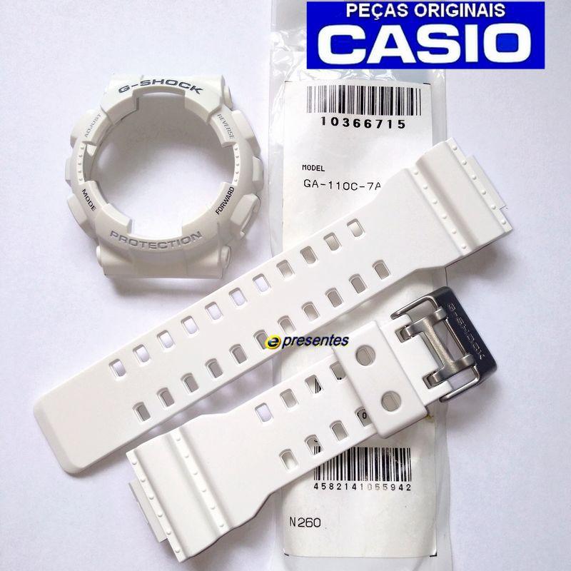 Pulseira + Bezel Original GA-110c-7a Casio G-Shock Branco SemiFosco  - E-Presentes