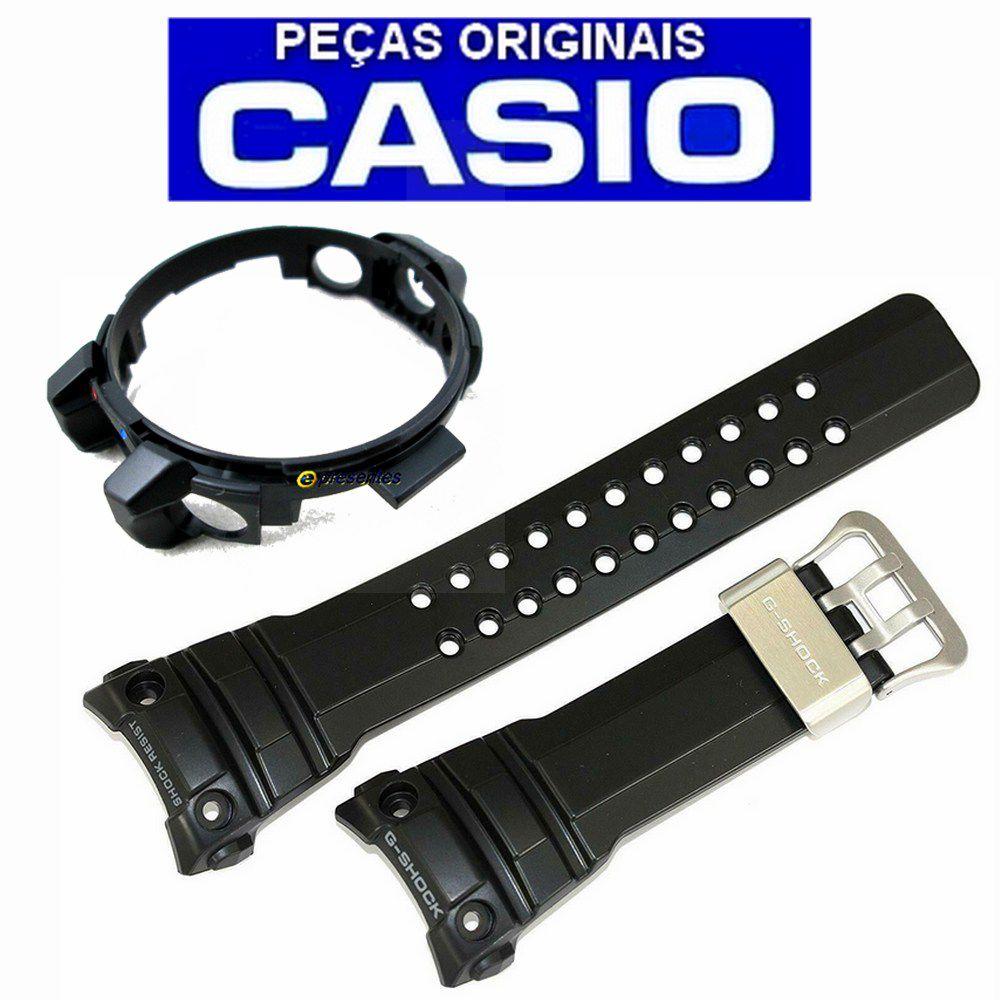 Pulseira + Bezel Original GWN-1000B Casio G-shock Resina Preta   - E-Presentes