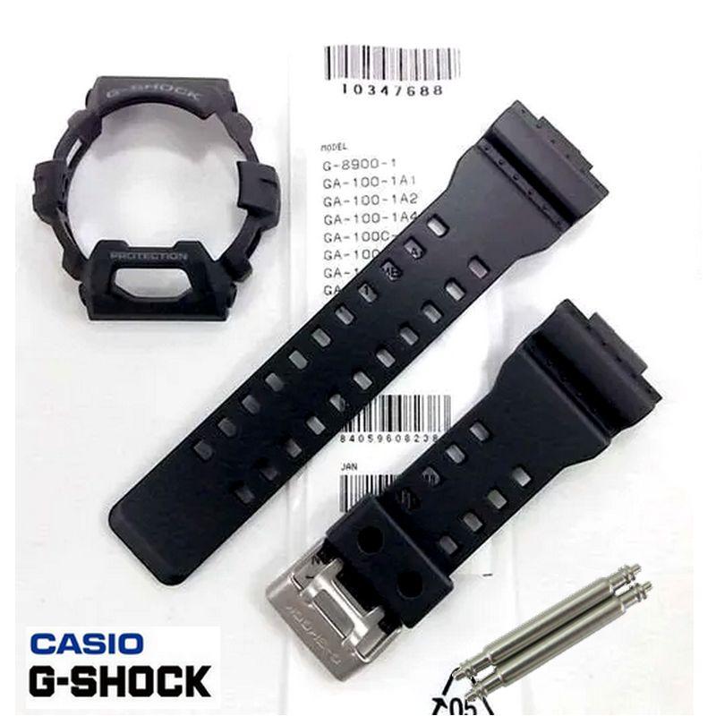 Pulseira + Bezel + Par de Pinos GR-8900A-1 Casio G-shock Preto Fosco  - E-Presentes