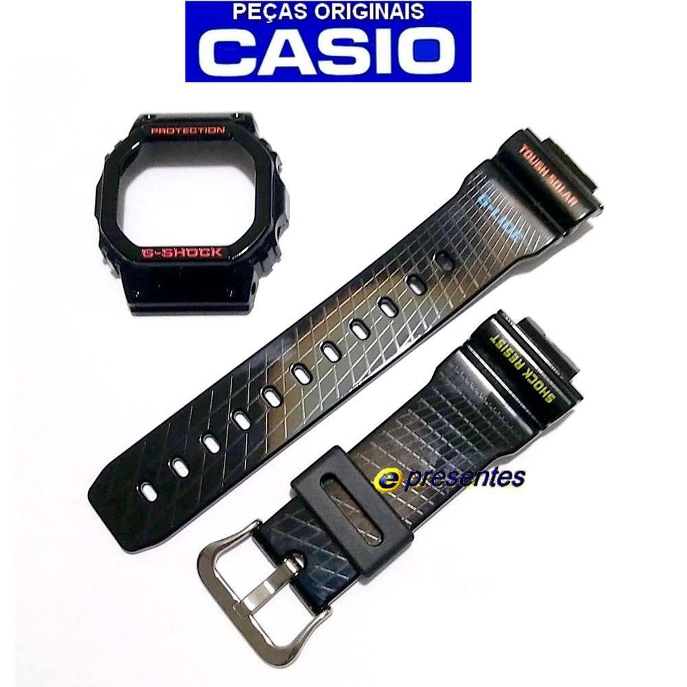Pulseira + Bezel + Par Pinos Retrateis Casio G-Shock GWX-5600-1  - E-Presentes