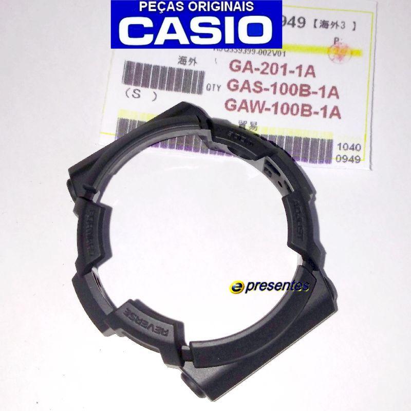 Pulseira + Bezel Preto Fosco GAS-100B-1A , GAW-100B-1A Casio G-Shock   - E-Presentes