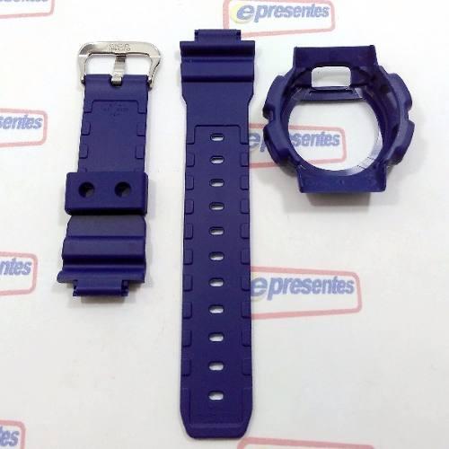 Pulseira + Capa Casio G-shock Azul Dw-9052-2, Dw-9050, Dw-9000, Dw-9051  - E-Presentes