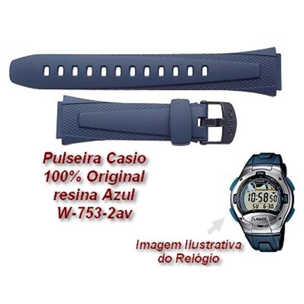 Pulseira Casio 100%original Resina Azul W-752 W-753 W-755  - E-Presentes