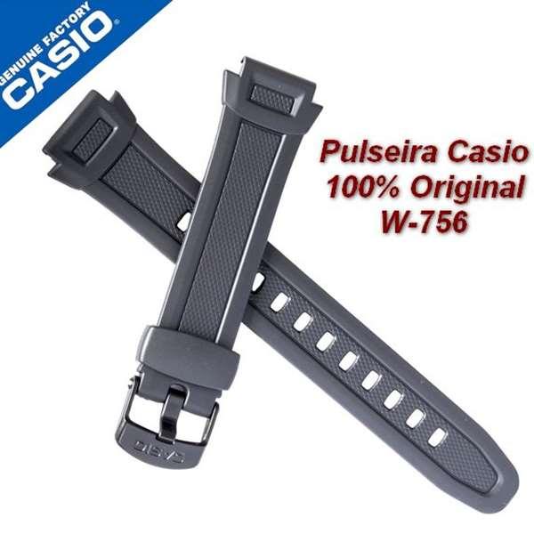 Pulseira Casio 100%original Resina Preta W-756-1a  - E-Presentes