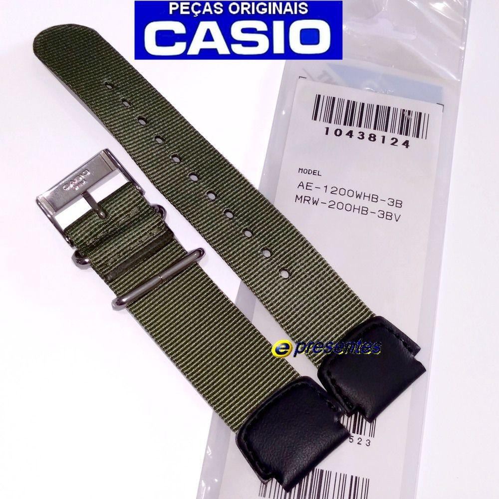 Pulseira Casio AE-1200WHB MRW-200HB Nylon/Couro Verde 100% Original   - E-Presentes