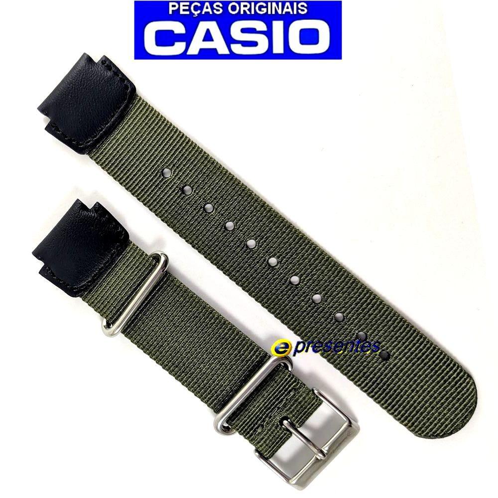 Pulseira Casio AE-1200WHB MRW-200HB Nylon/Couro Verde (18MM) 100% Original   - E-Presentes