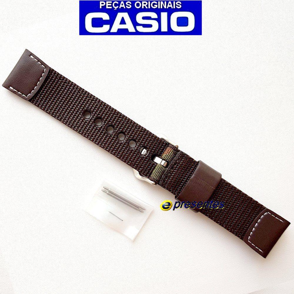Pulseira Casio AMW-705B-1av Couro / Tecido Camuflado - 100% original  - E-Presentes