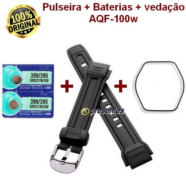 Pulseira Casio Aqf-100w + 2 Baterias + 1 vedação   - E-Presentes