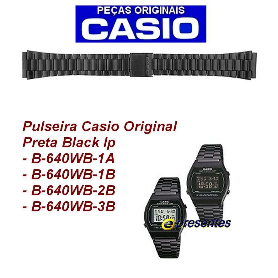 Pulseira Casio B640WD Aço Inox Black Ip Preto fosco -100% Original   - E-Presentes