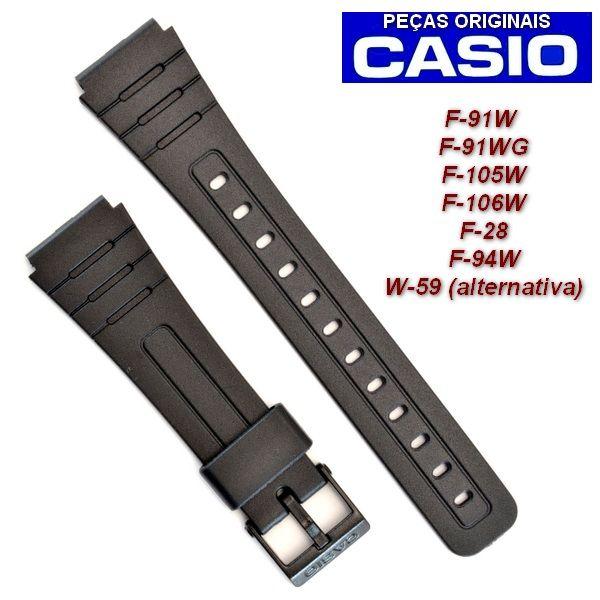 Pulseira Casio + Bateria CR2016 F-28 , F-91, F-94, F105, F-106  - E-Presentes