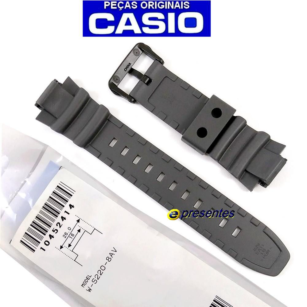 Pulseira Casio Cinza W-S220-8AV - 100% Original - 26/16mm  - E-Presentes