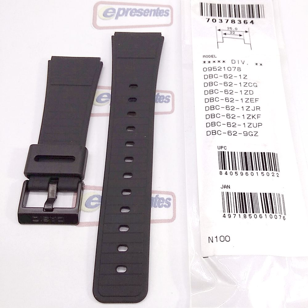 Pulseira Casio Databank DDBC-61, DBC-62* 25/22mm Resina Preta  - E-Presentes