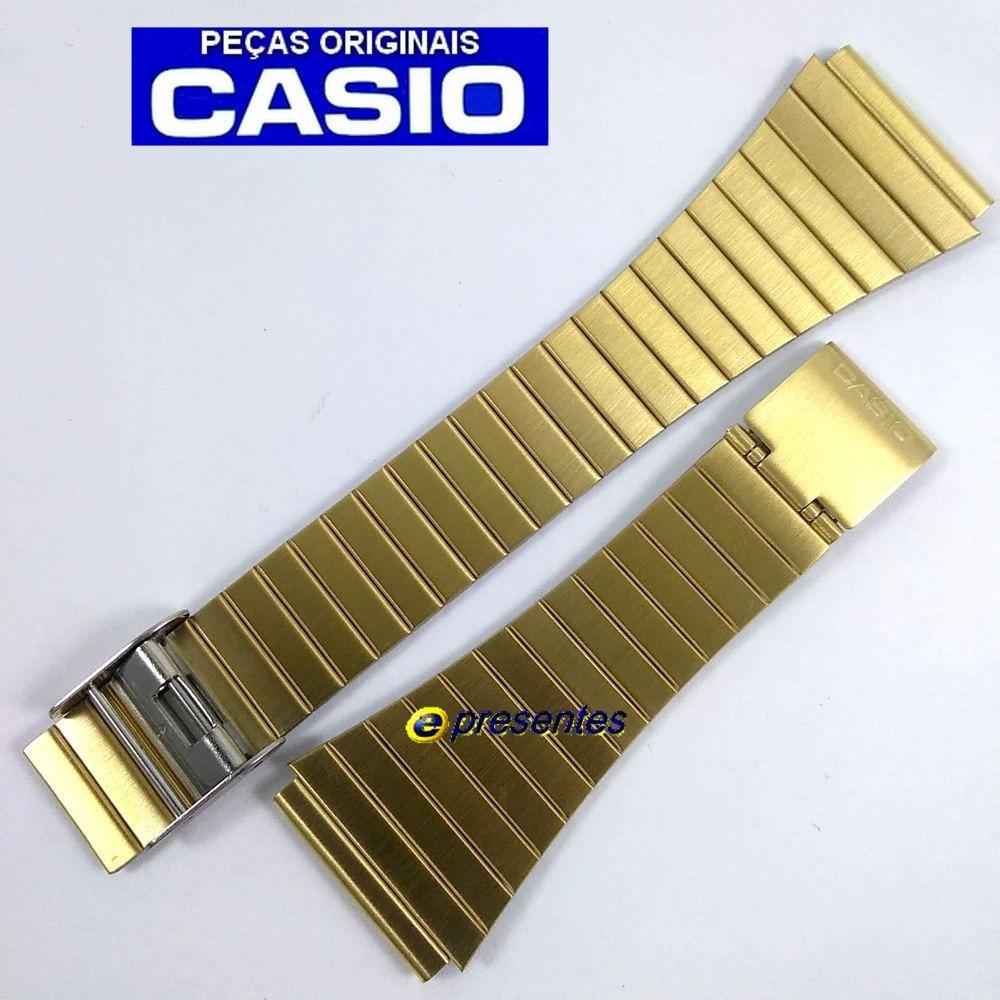 Pulseira Casio Dourada Aço Inox DBC-611G, DBC-610GA, DBC-300GA, DBC-800G-1UR   - E-Presentes