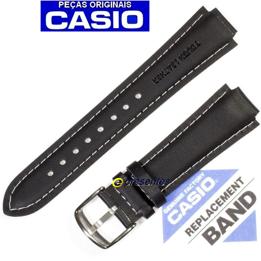 Pulseira Casio Edifice EF-500 Couro Preto -  100% Original  - E-Presentes