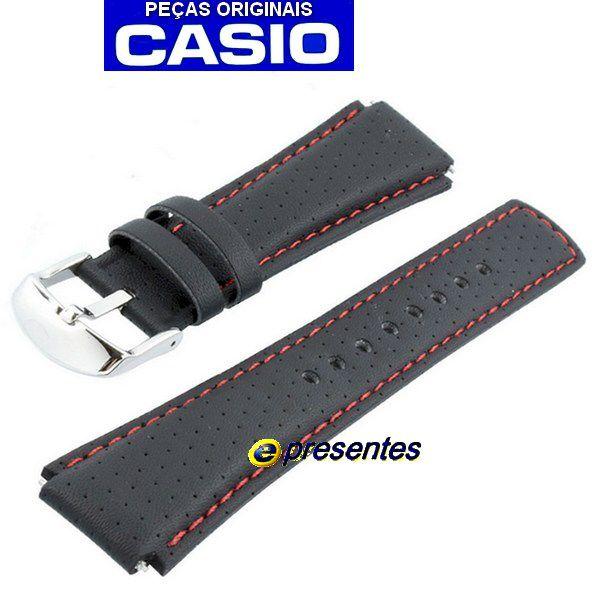 Pulseira Casio Edifice EFA-120L-1A Couro Preto -  100% Original  - E-Presentes