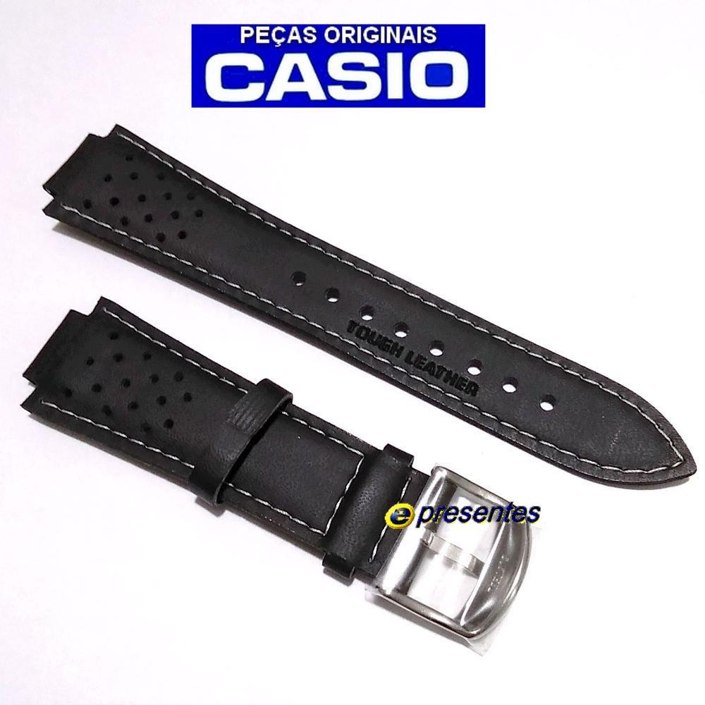 Pulseira Casio EF-307L / RL-300L Couro Preto - 100% Original   - E-Presentes