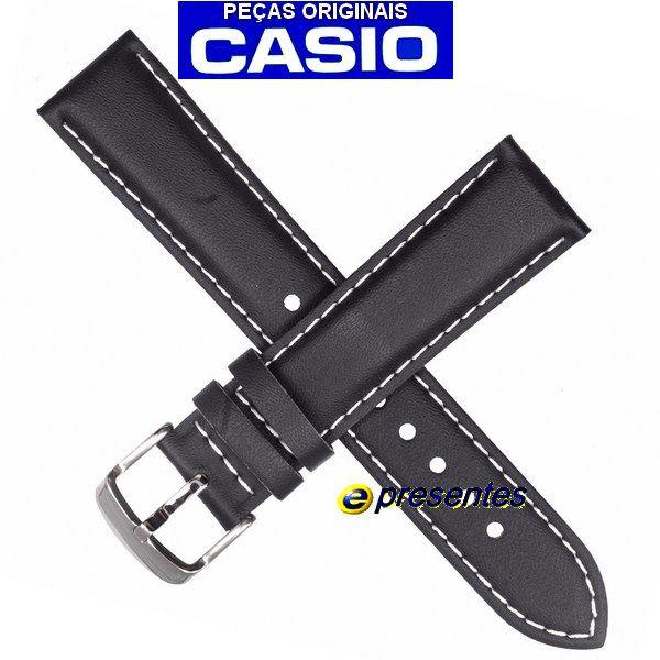 Pulseira Casio Edifice EF-503L-1AV Couro Preto (20mm)  - E-Presentes