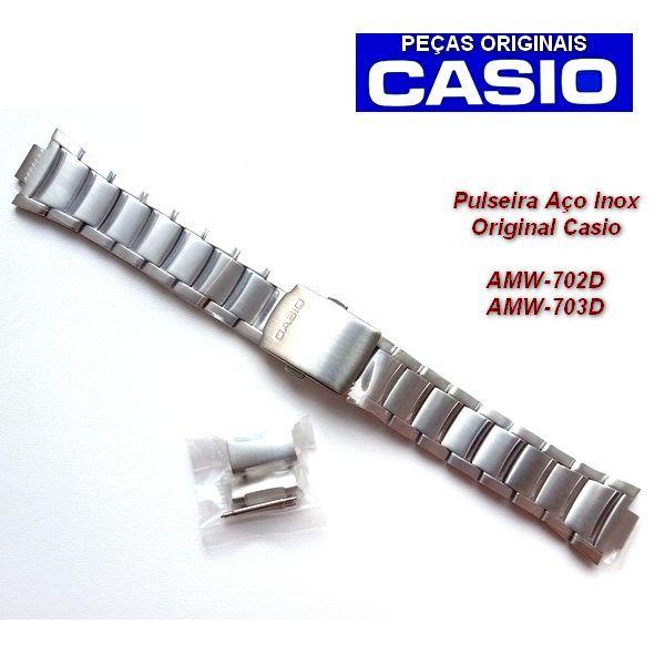 Pulseira Casio Fishing Gear AMW-702 AMW-703D AÇO INOX - 100% original  - E-Presentes