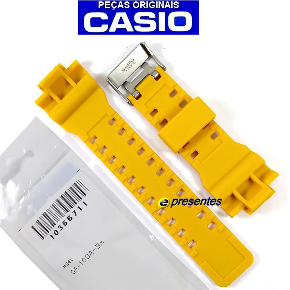 Pulseira Casio G-shock GA-100A-9A Resina Amarelo Verniz*  - E-Presentes