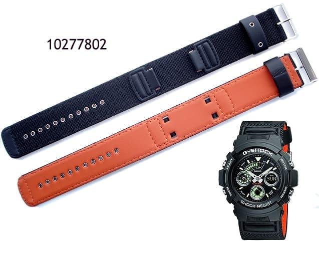 Pulseira Casio G-shock AW-591MS-1A Tecido Nylon/Couro Preto e laranja  - E-Presentes
