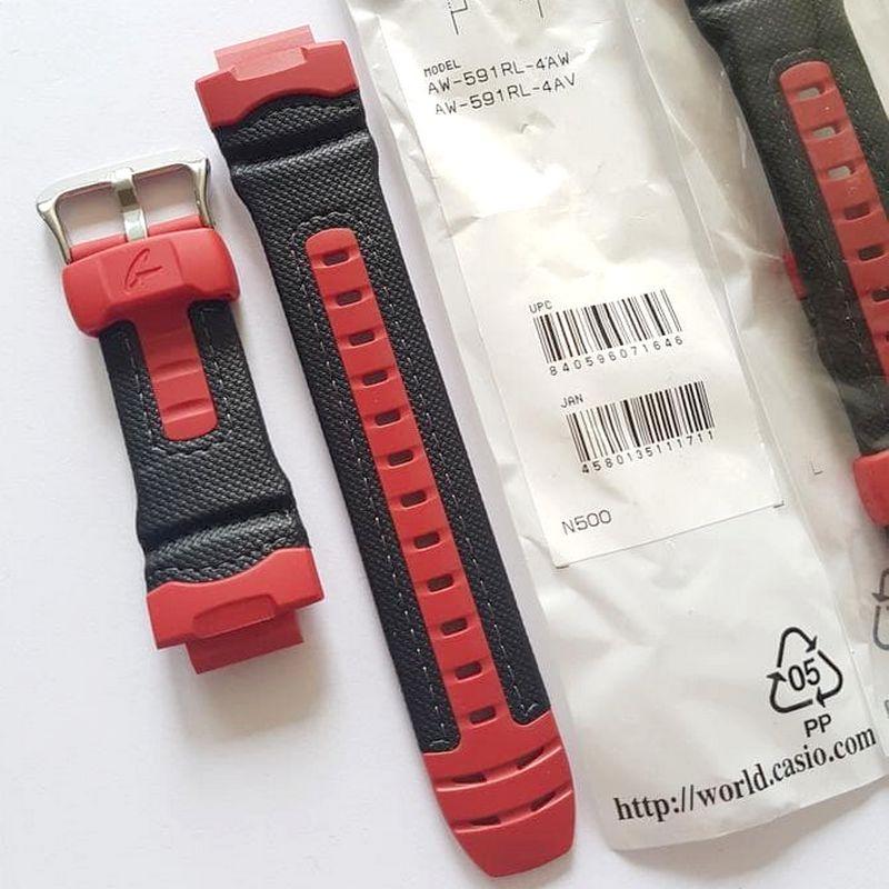 Pulseira Casio G-shock AW-591RL-4 Resina e Couro preto/ vermelho  - E-Presentes