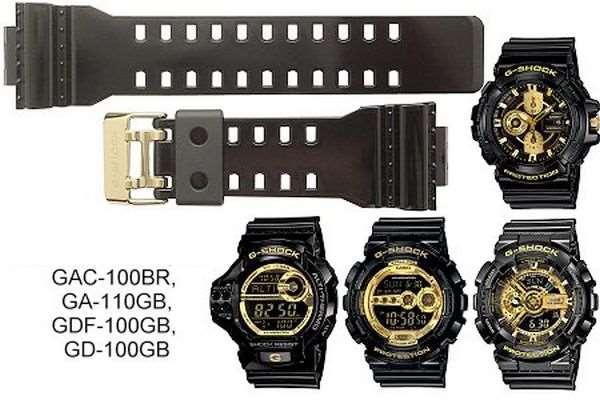 Pulseira Casio G-shock Brilhante Fivela Dourada GA-110GB, GD-100GB, GAC-100BR, GD-100GB, GDF-100GB, GA-710GB  - E-Presentes