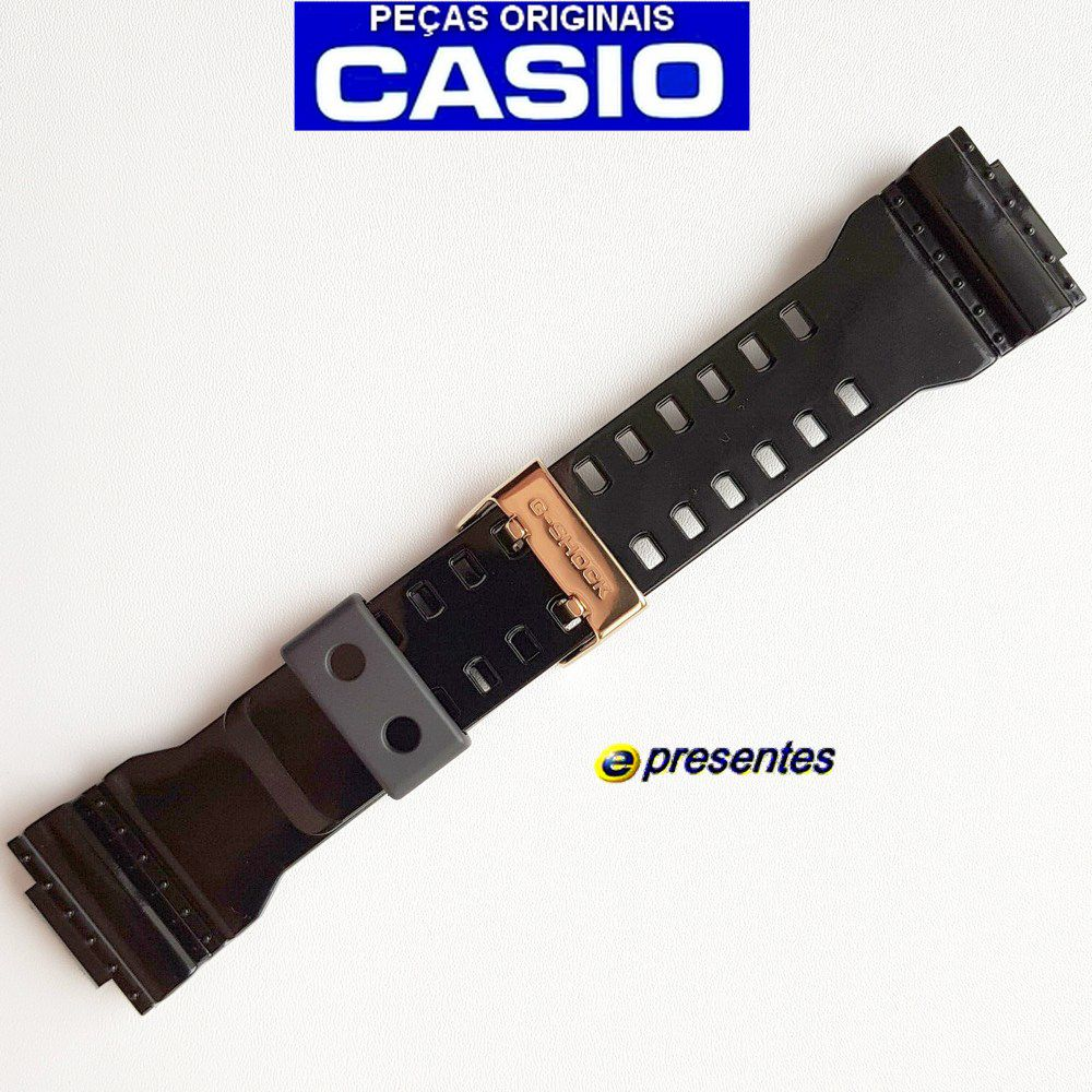 Pulseira Casio G-shock Brilhante Fivela Dourada GA-110GB, GD-100GB, GAC-100BR, GD-100GB, GDF-100GB, GA-710GB *  - E-Presentes